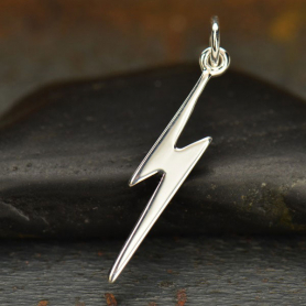 Sterling Silver Lightning Bolt Charm - Flat 25x3mm