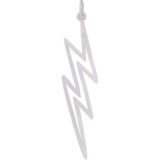 Sterling Silver  Lightning Bolt Charm - Openwork