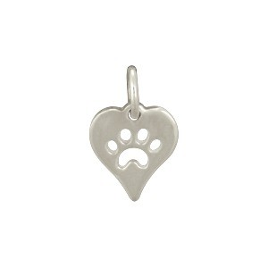 Sterling Silver Heart Charm with Paw Print - Pet Charm