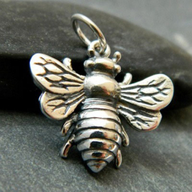 Sterling Silver Bee Pendant -22mm
