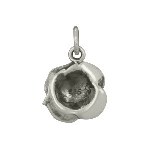 Sterling Silver Rose Charm - Textured 17x11mm