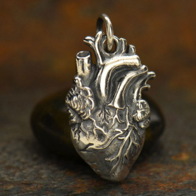 Sterling Silver Anatomical Heart Charm 21x10mm