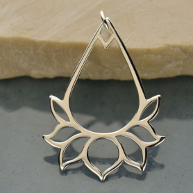 Sterling Silver Teardrop Lotus Charm Link 34x23mm