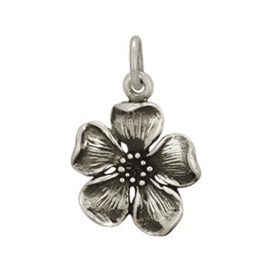 Sterling Silver Large Cherry Blossom Charm 18x12mm