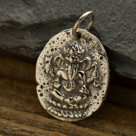 Sterling Silver Ancient Coin Charm - Ganesh 21x13mm