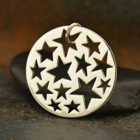 Sterling Silver Round Pendant with Star Cutouts DISCONTINUED