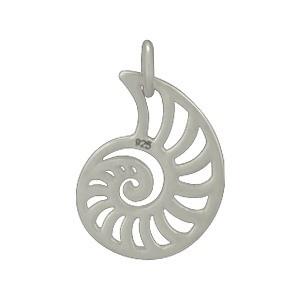 Sterling Silver Nautilus Charm - Beach Charm - Openwork