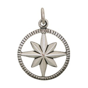 Sterling Silver Compass Pendant in Circle Frame 21x15mm