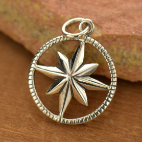 Sterling Silver Compass Pendant in Circle Frame