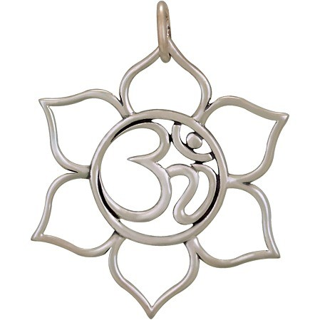 Sterling Silver Lotus Pendant with Om - Openwork 37x32mm