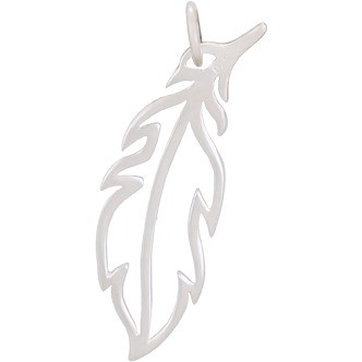 Sterling Silver Feather Charm - Openwork 28x9mm