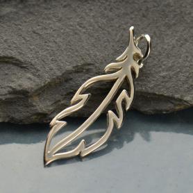 Sterling Silver Feather Charm - Openwork