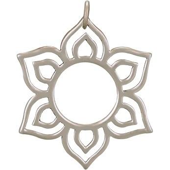 Sterling Silver Lotus Charm - Openwork Sunburst 30x27mm