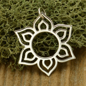 Sterling Silver Lotus Charm - Openwork Sunburst 30x27mm