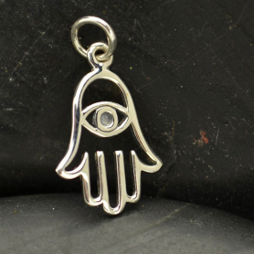 Sterling Silver Hamsa Hand Charm with Evil Eye 21x11mm