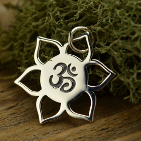 Sterling Silver Lotus Charm with Om Center 21x18mm
