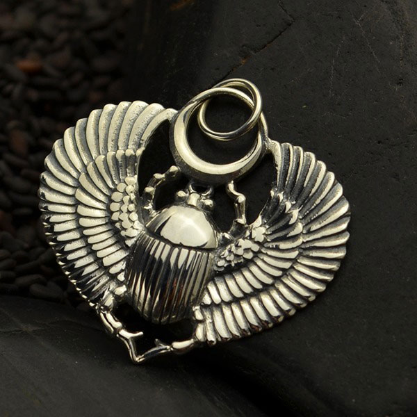 Egyptian Scarab with Wings Necklace Insurance Included Solid 925 Sterling Silver Pendant