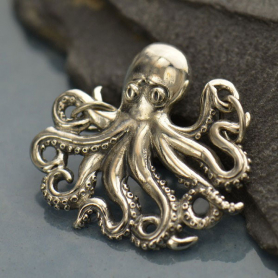 Jewelry Supplies - Octopus Pendant Silver Link 25x26mm