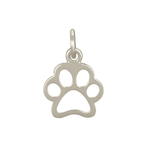 Sterling Silver Paw Print Charm - Openwork 15x10mm