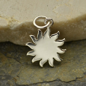 Sterling Silver Sun Charm 18x12mm