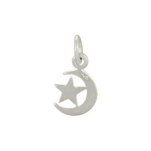 Sterling Silver Moon Charm with Star 14x7mm