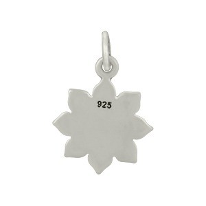 Sterling Silver Lotus Charm with Etched Om 17x12mm