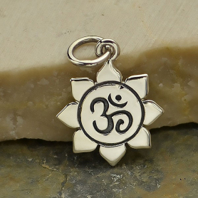 Sterling Silver Lotus Charm with Etched Om