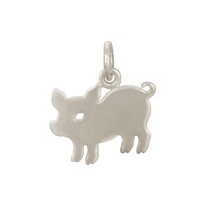 Sterling Silver Pig Charm - Animal Charms 15x14mm