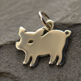 Sterling Silver Pig Charm - Animal Charms