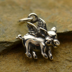 Sterling Silver Flying Pig Charm - Animal Charms