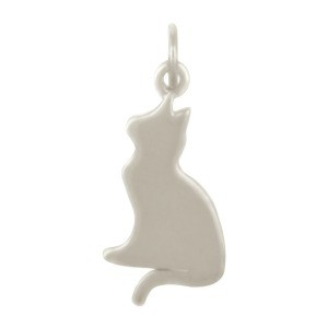 Sterling Silver Cat Charm - Pet Charm 23x10mm