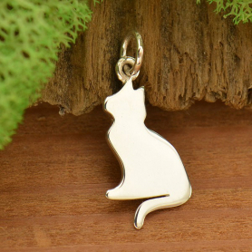Sterling Silver Cat Charm - Pet Charm