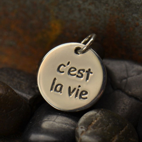 Sterling Silver Word Charm C est La Vie Such is Life 16x13mm