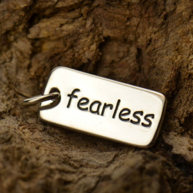 Sterling Silver Word Charm - Fearless 18x7mm