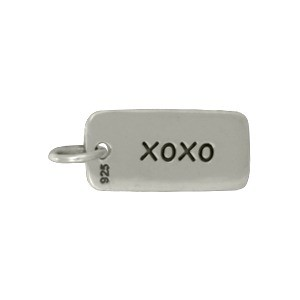 Sterling Silver Word Charm - xoxo Hugs and Kisses 18x7mm