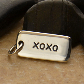 Sterling Silver Word Charm - xoxo Hugs and Kisses