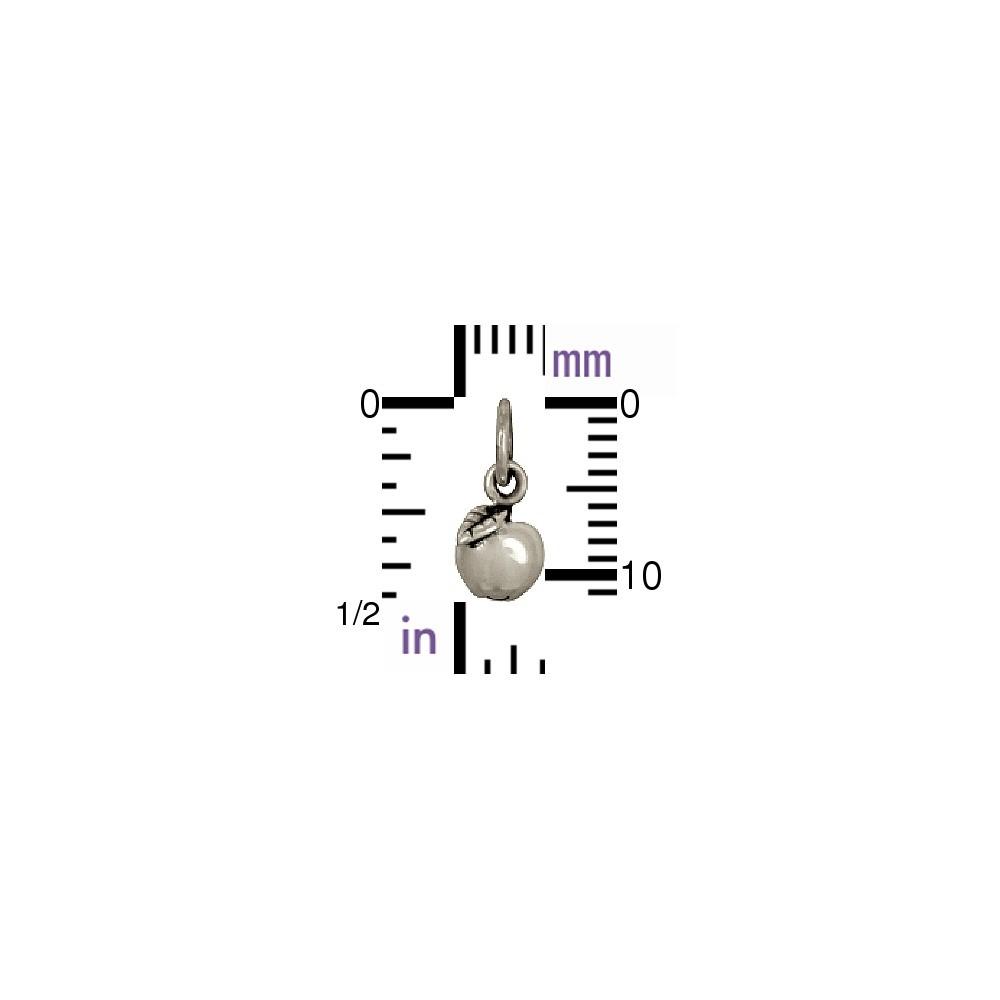 Sterling Silver Apple Charm - Food Charm 12x6mm