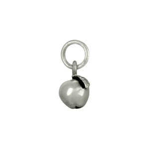 Sterling Silver Apple Charm - Food Charm 12x6mm