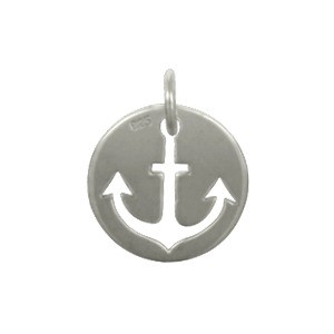 Sterling Silver Cutout Anchor Charm on Round Disc 15x12mm