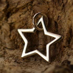 Sterling Silver Star Charm - Openwork 13x12mm