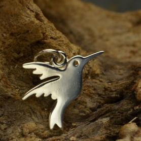 Sterling Silver Hummingbird Charm - Flat 16x16mm