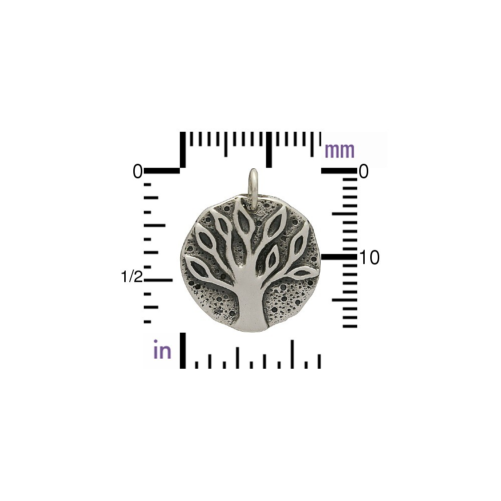 Sterling Silver Ancient Coin Charm - Tree Charm 20x16mm