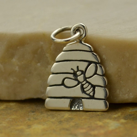 Sterling Silver Beehive Charm with Bees