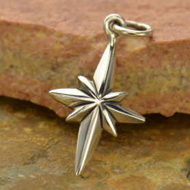Sterling Silver North Star Compass Charm 22x11mm
