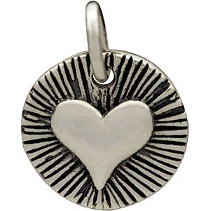 Sterling Silver Radiant Heart Charm - Small 14x10mm