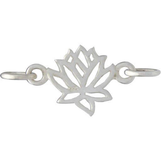 Sterling Silver Charm Links - Lotus 9x14mm