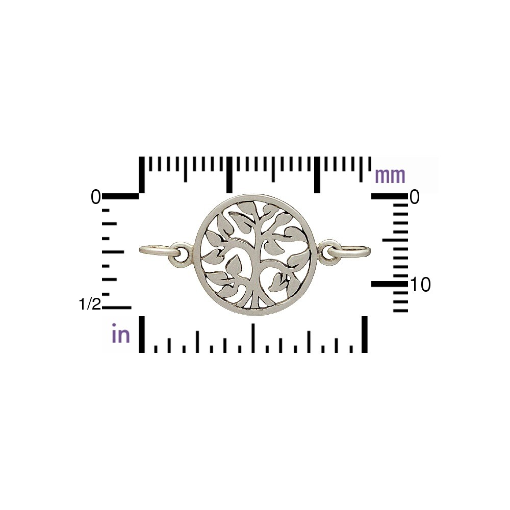 Sterling Silver Charm Links - Tree of Life 14x19mm