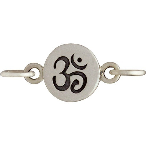 Sterling Silver Charm Links - Om Etched on Disc 8x13mm