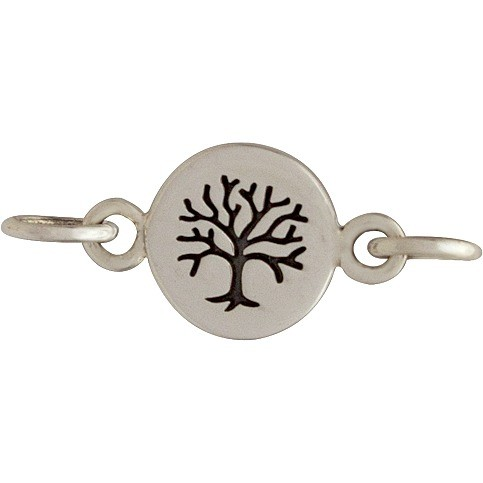 Sterling Silver Charm Links - Etched Tree on Disc 8x13mm