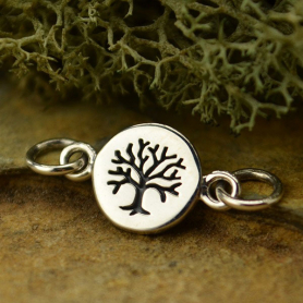 Sterling Silver Charm Links - Etched Tree on Disc